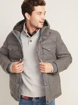 Old Navy Brushed Herringbone Hooded Puffer Jacket for Men