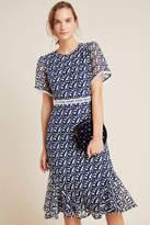 Shoshanna Nell Embroidered Lace Midi Dress