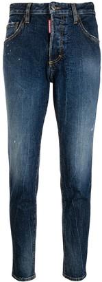 DSQUARED2 Mid Rise Logo Aplique Jeans