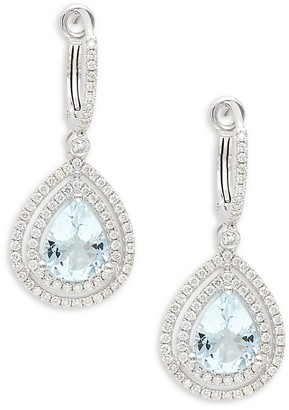 Saks Fifth Avenue 14K White Gold, Aquamarine Diamond Drop Earrings