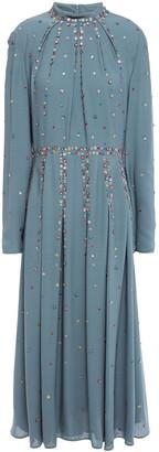 Valentino Pleated Floral-appliqued Silk Crepe De Chine Midi Dress