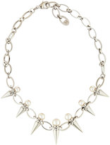 Majorica Silver Pearl & Spike Station Necklace