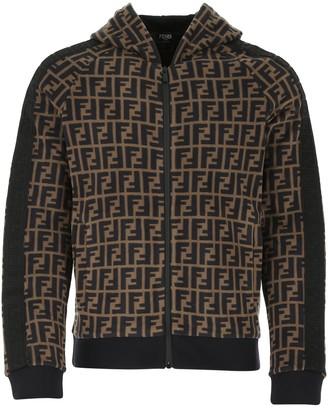 Fendi FF Motif Print Zipped Sweatshirt