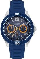 GUESS GUESS? Men's Blue and Silver-T Sport Watch
