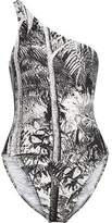 Norma Kamali One-Shoulder Printed Swimsuit