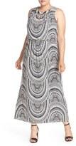 London Times Plus Size Women's Embellished Print Blouson Maxi Dress