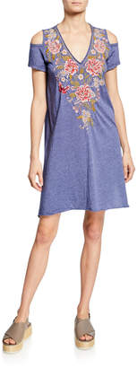 Johnny Was Cecile V-Neck Cold-Shoulder Jersey Tunic Dress w/ Embroidery