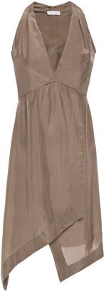 Brunello Cucinelli Wrap-effect Gathered Bead-embellished Silk-habotai Mini Dress