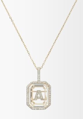 Mateo Initials Diamond, Quartz & 14kt Gold Necklace A-m - Crystal
