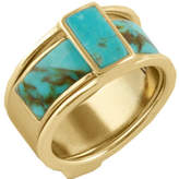 Barse Women's Genuine Turquoise Ring BFFLR03T01 (2 Piece)