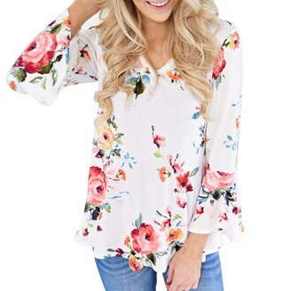 DEELIN Women Long Flare Sleeve V-Neck Cute Autumn Casual Floral Printing Sexy Party Tops T-Shirt Blouse(White UK-22 CN-5XL)