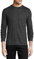 Rag & Bone Owen Long-Sleeve Linen T-Shirt, Charcoal