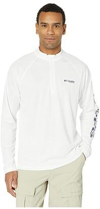 Columbia Terminal Tackle 1/4 Zip (White/Nightshade Logo) Men's Clothing
