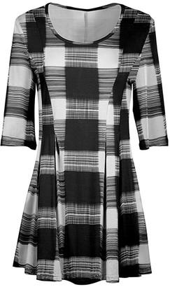 Lily Women's Tunics BLK - Black & White Plaid Pleated-Waist Tunic - Women & Plus