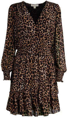 MICHAEL Michael Kors Leopard Print Ruffle Dress
