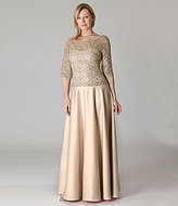 JS Collections Lace Bodice Satin Gown