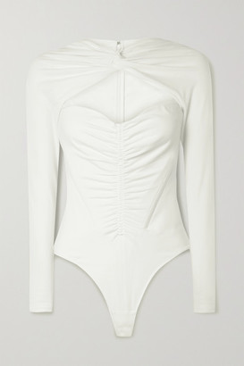 Alexander Wang Ruched Cutout Cotton-blend Jersey Thong Bodysuit - Ivory
