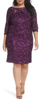 Alex Evenings Plus Size Women's Rosette Lace Sheath Dress