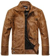LOVEBEAUTY Men's Casual Faux Leather Outwear Moto Bomber Jacket Short M