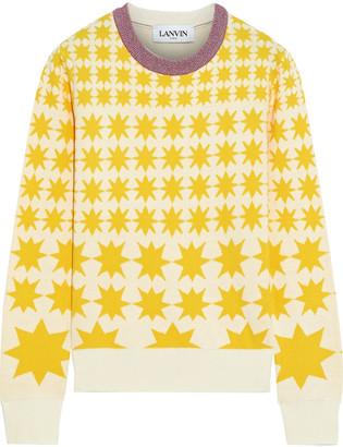 Lanvin Metallic-trimmed Jacquard-knit Cotton-blend Sweater