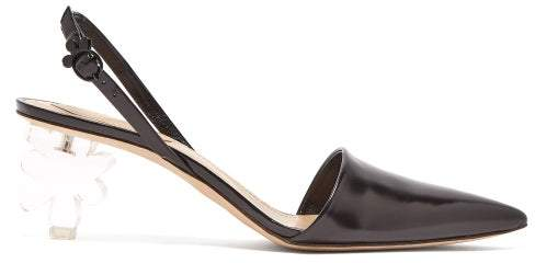 Flower Heel Leather Slingback Pumps   Womens   Black by Simone Rocha