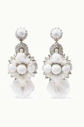Ranjana Khan Silver-tone Pearl, Crystal And Tulle Clip Earrings - White