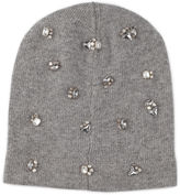 Jimmy Choo EVA H6E042530 Pearl Grey Blend Cashmere Knitted Beanie with Crystals
