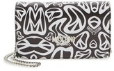 Moschino 'Peace' Printed Leather Wallet on a Chain
