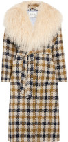 Sea Margot Shearling-trimmed Checked Tweed Coat