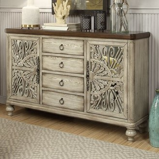"Bungalow Rose Yakima 60"" Wide 4 Drawer Rubberwood Sideboard"