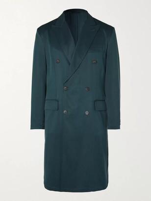 Brioni Double-Breasted Silk-Twill Overcoat - Men - Blue