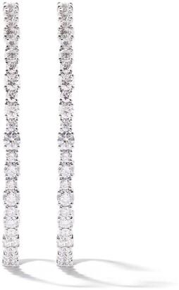 As 29 18k White Gold Diamond Round Large Hoop Earrings