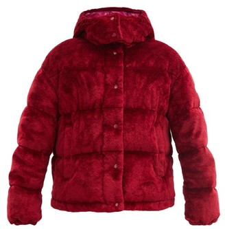 Moncler Daos Hooded Quilted-velvet Down Jacket - Red
