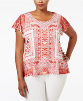 Style&Co. Style & Co. Plus Size Cap-Sleeve Crocheted-Overlay Blouse, Only at Macy's