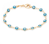 Sweet & Soft Aqua Crystal & Gold Evil Eye Link Bracelet