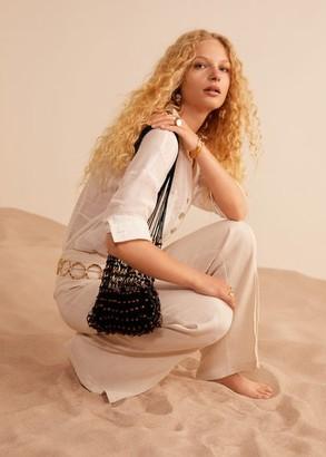 MANGO Net wood bag black - One size - Women