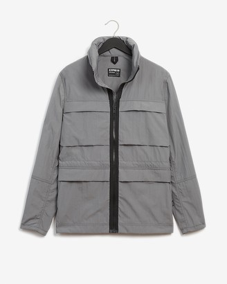 Express Gray Nylon Water-Resistant Zip-Out Hood Jacket