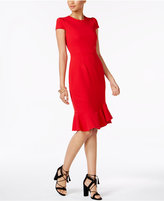 Betsey Johnson Cap-Sleeve Ruffled Dress