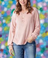 Luukse Women's Tunics 101PINK - Pink V-Neck Pullover - Women & Plus
