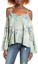 O'Neill Taavi Floral Print Cold Shoulder Top
