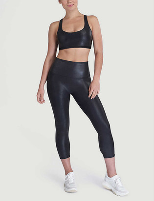 Spanx Active Cropped high-rise faux-leather leggings