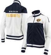 G Iii Women's G-III 4Her by Carl Banks White/Navy Denver Nuggets Tip Off Rhinestone Tricot Full-Zip Track Jacket
