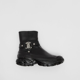 Burberry Monogram Motif Buckle Leather Boots