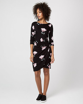 Le Château Floral Print Jersey Boat Neck Pleated Dress