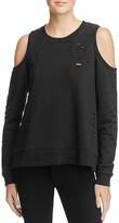 Aqua Distressed Cold Shoulder Zip Pullover - 100% Exclusive