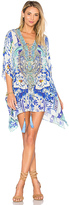 Camilla Short Lace Up Caftan in Blue.