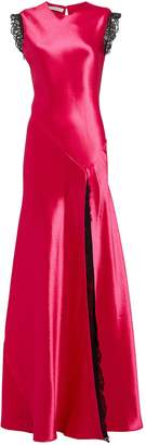 Philosophy di Lorenzo Serafini Lace-Trimmed Satin Gown