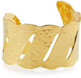 Devon Leigh Thin Hammered Golden Wave Cuff