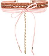 Ettika Velvet & Leather Wrap Choker in Pink.