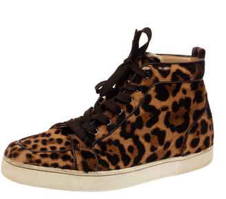 Christian Louboutin Brown Animal Print Calf Hair Orlato High Top Sneakers Size 43